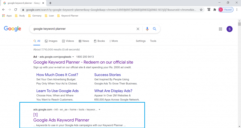 Step 1 of Google Keyword Planner