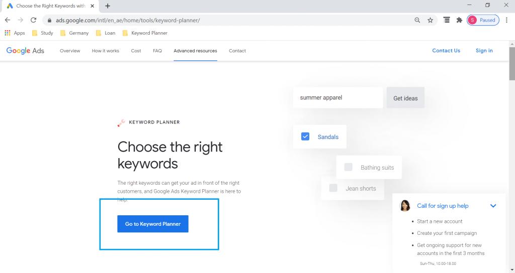 Step 2 of Google Keyword Planner