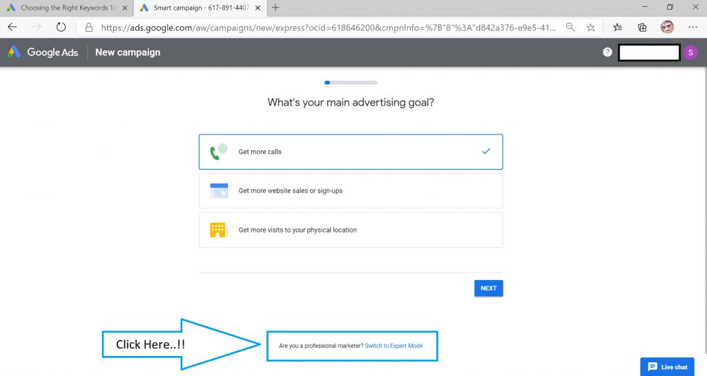Step 5 of Google Keyword Planner