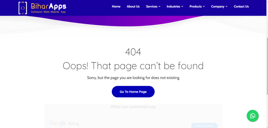 SEO Sample 404 Page of BiharApps