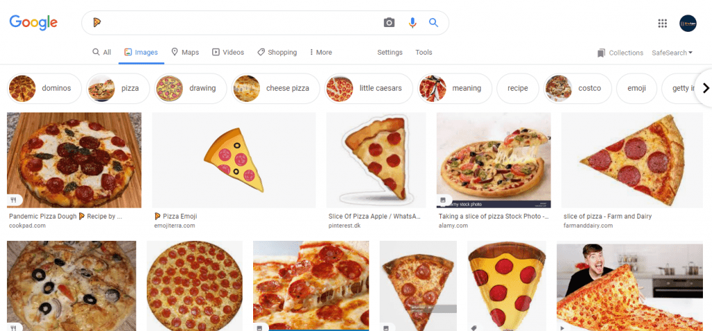 Emoji crawling is also possible in Google Images