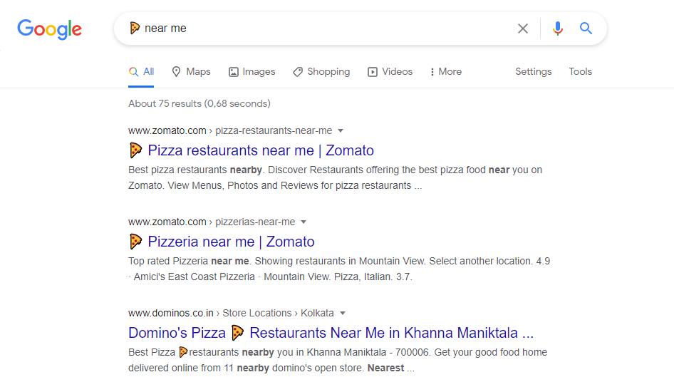 emoji in google search