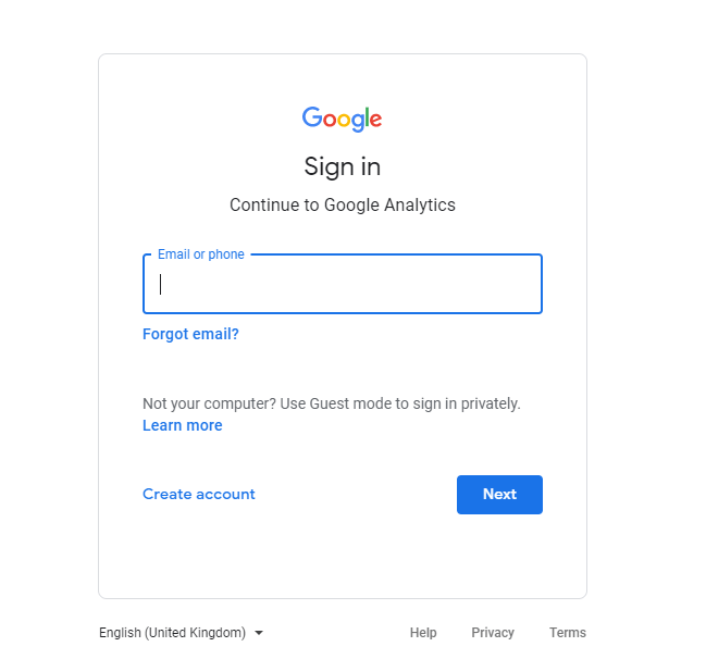 Log in to your Google Analytics account