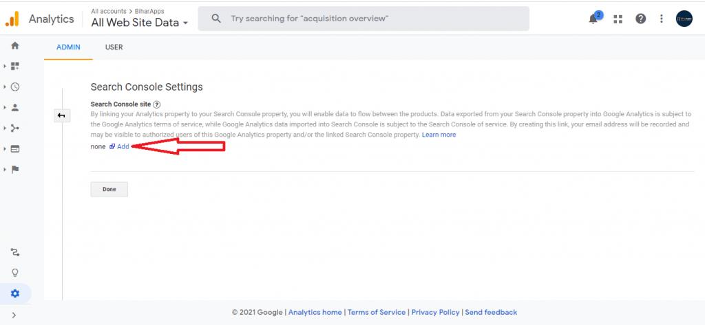 add search console in GA