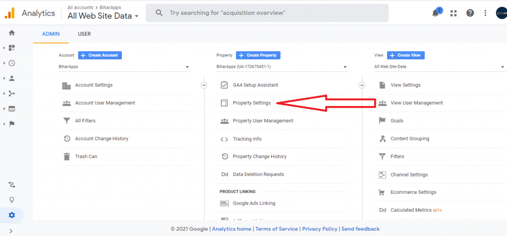 property settings of Google My business