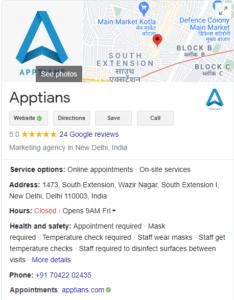 add website business details to google